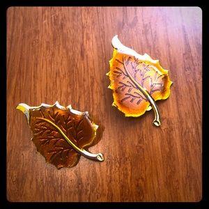 Vintage Clip-on Leaf Earrings